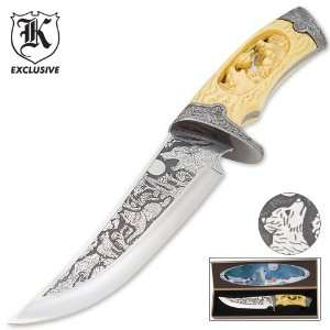 Custom Faux Ivory Wildlife Wolf Bowie Knife