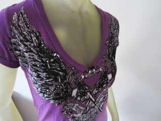 Mulisha womens tee shirt purple cowl neck two tone size small $27