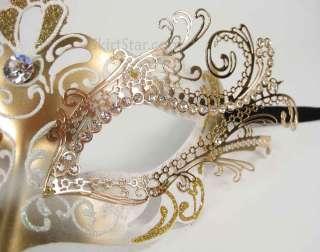 LASER CUT metal VENETIAN MASK masquerade rhinestone gold rhinestone