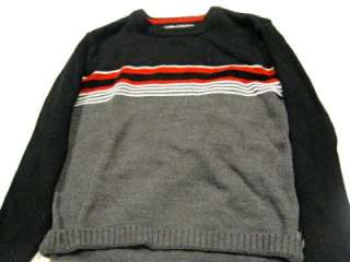 XG black red white striped sweater boys 8