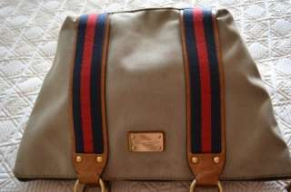 Michael Kors Canvas Blue Red Stripe Handbag Shoulder Bag Hobo Tote