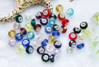 Faceted Crystal Glass Spacer Beads 5MM Hole Fits Charms Bracelet