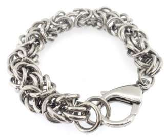 Stainless Steel Charm Byzantine Style Bracelet Chain 11MM Free Ship