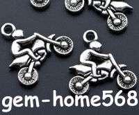 72 Tibetan Silver 3D Motorcycle Charm Pendant 21.5mm