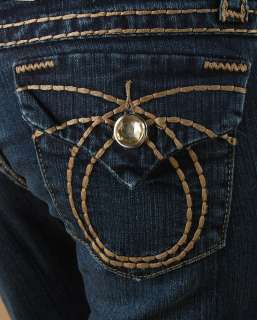 LA iDOL Crystal Big Stitch Dark Denim Bootcut Jean 0~21