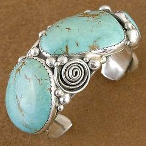 Vintage 1970s Sterling Silver Turquoise Bracelet & Ring by Navajo