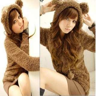 Fashion Korea cute girls plush Teddy bear ear cap hoodie fur coat