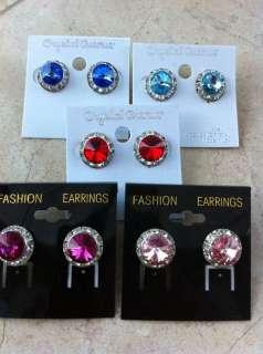 Round Crystal Rhinestone Dance Earrings Pierced