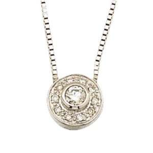 14K White Gold Trendy Sphere Diamond Accent Pendant Necklace Jewelry