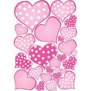 Pink Pastel Polka Dot Heart Wall Decals Stickers Baby