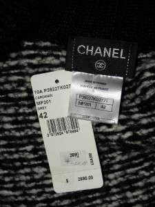 10A CHANEL Grey Knit Mohair/Wool Cardigan Sweater 42 NWT $2690