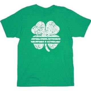 St. Patricks Day Striped Shamrock Clover Vintage Adult T shirt Tee
