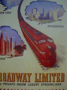 1953 Pennsylvania Railroad Broadway Limited Poster