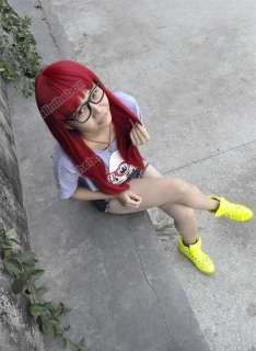 Straight Bang short Straight full Wig wigs Red with wig cap Cosplay