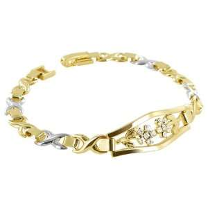 Cubic Zirconia Flower Design Two Tone X and O Link 7.5 inch Bracelet