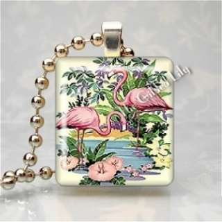 PINK FLAMINGOS RETRO BIRD TROPICAL Scrabble Art Pendant