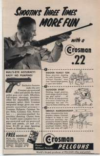 1956 Vintage Ad Crosman .22 Pellguns Rifles and Pistols