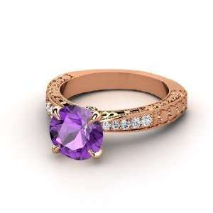 Megan Ring, Round Amethyst 14K Rose Gold Ring with Diamond