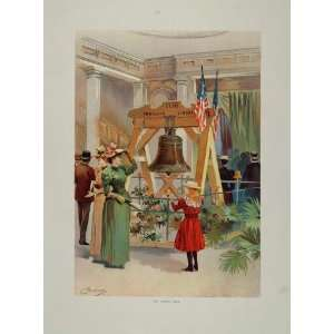 1893 Chicago Worlds Fair Liberty Bell Girl Women   Original