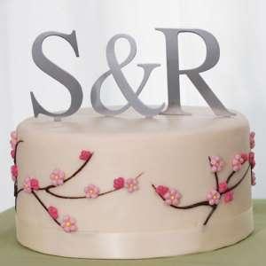 Large Silver Monogram Letter Wedding Cake Topper