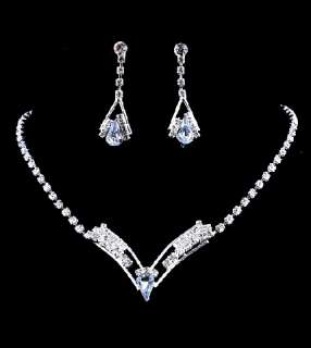 24Fine(12sets)silver tone rhinestone necklace&earring