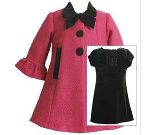 Bonnie Jean Girls Fall Winter Fushia Boucle Coat & Black Velvet Dress