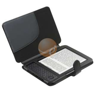 Black Leather Pouch Skin Cover+LED Tablet Reading Light For Kindle 3