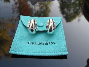 Tiffany & Co RARE Silver Picasso Vendome Shell Hoop Earrings