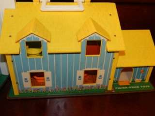 FAMILY HOUSE Vintage Toy Little People Car Boat Dog Furniture