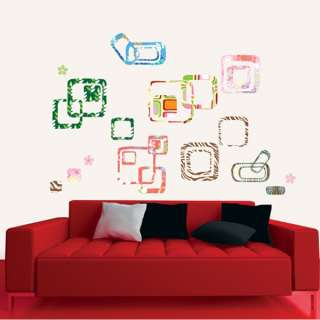 DIY Decorative Wall Sticker Decals SQUARES FLOWER PANEL