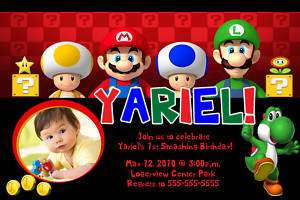 Super Mario Bros Custom Birthday Party Invitations