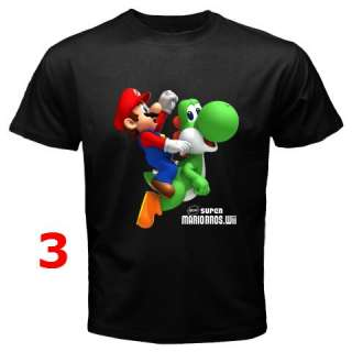 NEW SUPER MARIO BROS WII BLACK T SHIRT #2 (9 DESIGN)