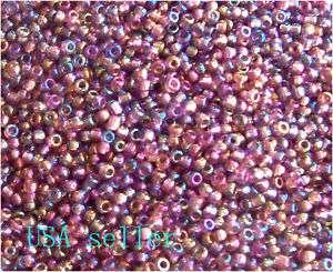 Rainbow purple seed Beads  size 11/0