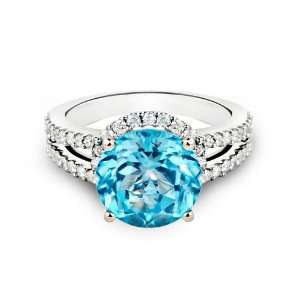14k White Gold Round Blue Topaz Ring (4.35 ctw) (Blue Topaz   3.75 ct