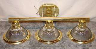 Light Polished Brass & Ribbed Glass Bath Wall Sconce