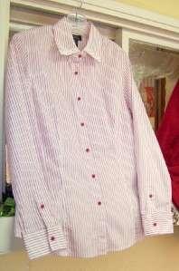 Lot Denim Co Sweater Jones New York Shirt M Red White