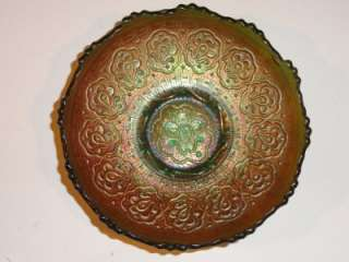 Antique Fenton Persian Medallion Green Carnival glass Bowl