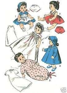 Vintage Doll Wardrobe Pattern 13.5 Betsy Wetsy 8454