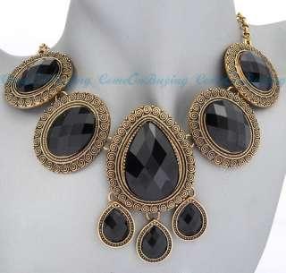 Vintage Golden Round Water Drop Oval Black Resin Beads Pendant
