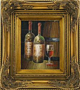 Wine bottle glass still life  FRAMED OIL PAINTING
