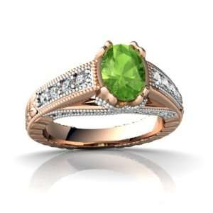 14k Rose Gold Oval Genuine Peridot Antique Style Ring Size 4 Jewelry
