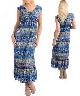 LOT PLUS SIZE MAXI BOHO SUMMER LONG DRESS 1 XL 2XL 3XL PURPLE BLUE