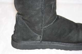 UGG F10009H WOMENS 8 CLASSIC TALL BLACK GENUINE SUEDE & SHEEPSKIN