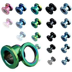 Stainless Steel Screw Fit Flesh Tunnels   0G (8mm)   Sold as a Pair