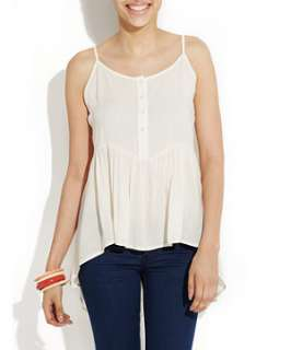 Winter White (Cream) White Drop Pleat Dipped Hem Top  251353712  New