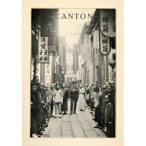 1912 Print Canton Guayadong China Costume Street Scene