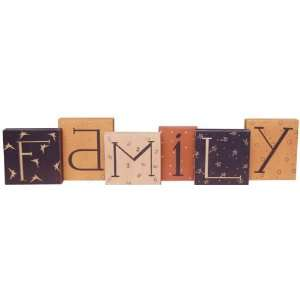 Family Primitive Wood Blocks   Set of 6 Home & Kitchen