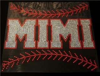 Baseball Mimi Stitching Rhinestone Iron On Transfer
