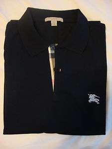 BURBERRY Mens Classic Cotton Check Placket Polo Shirt Navy Blue Slim