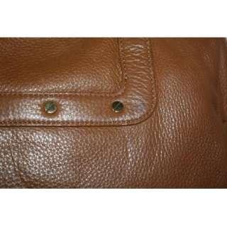 Auth. Tory Burch Amanda Dome Satchel Brown Leather Handbag crossbody
